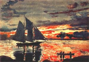 Art - Winslow Homer - Sunset Fires