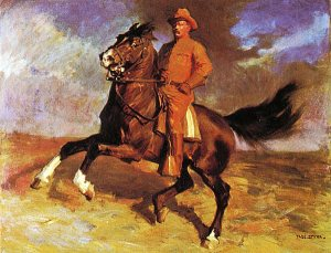 Theodore Roosevelt and his horse, Little Texas, who led the charge up San Juan Hill.