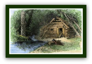 woman-weeping-outside-a-log-cabin-in-ruins