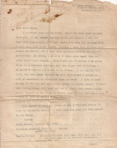 Family Bible Letter to Clara Minerva Brown Eggleston